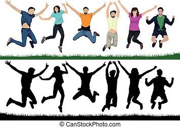 快樂, 組, 人們, 人們。, 年輕, 插圖, 空氣, 年青人, trampolines., 矢量, jump., 黑色半面畫像, jumping., 朋友, 愉快