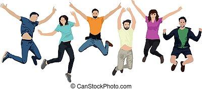 快樂, 組, 人們, 人們。, 年輕, 插圖, 空氣, 年青人, trampolines., 矢量, jump., jumping., 朋友, 愉快