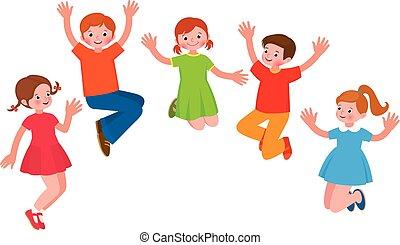 快樂, 組, 插圖, 孩子, 跳躍, 矢量, 卡通