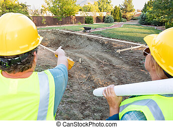 忽略, 工人, 站點, 建設, 女性, 男性, 池