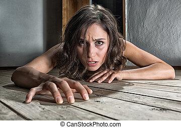 惊嚇, 婦女, 地板
