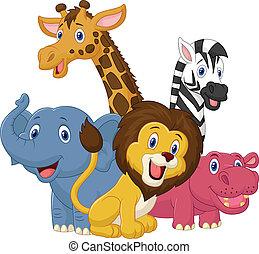 愉快, 動物, 旅行隊, 卡通