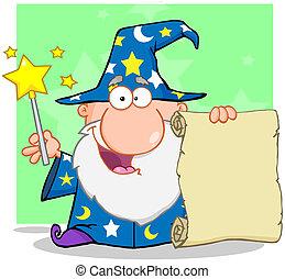 愉快, 巫術師, 向上, 藏品, 紙卷