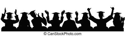 愉快, 手掌, 鼓掌, illustration., 大學, 快樂, 手, 畢業生, 快樂, 黑色半面畫像, close-up., 矢量