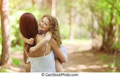 愉快, 步行, 孩子, 在戶外, 母親