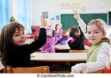 愉快, 老師, 學校, 教室
