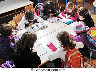 愉快, 老師, 教室, 孩子, 學校
