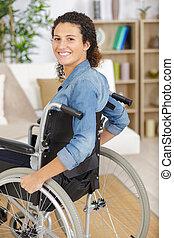 愉快, 輪椅, 殘疾的女人