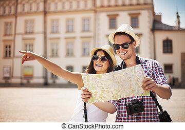 愉快, 遊人, 城市地圖, 觀光