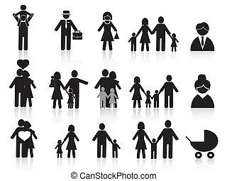 愉快, 集合, 黑色的家庭, 圖象