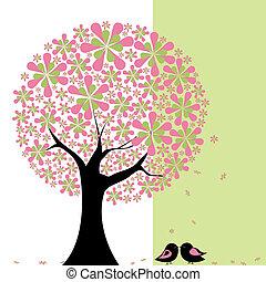 愛情鳥, 花, 樹, 春天