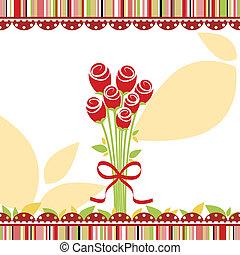 愛, 上升, 問候, 春天, 卡片, 花, 紅色