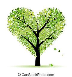 愛, 葉子, 樹, 心, 情人節