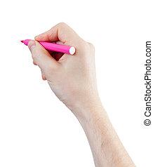 感到, 被隔离, 手, 鋼筆, 白色, 品紅色