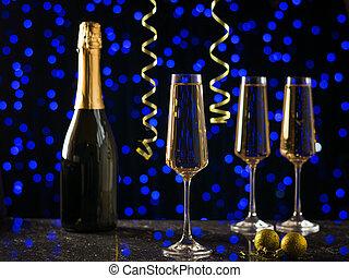 懸挂, 在上方, 背景, 蜿蜒, 眼鏡, bokeh., 黃色, 香檳酒