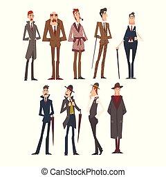 成功, 富有, 集合, 人, 插圖, 衣服, 各位先生, 雅致, victorian, 矢量, 字符