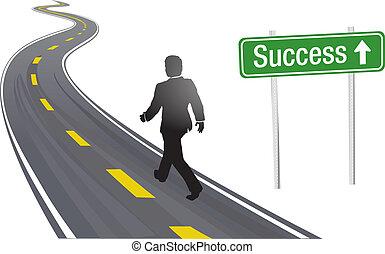 成功, 生意 簽署, 步行, 路, 人