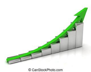 成長, 箭, 綠色的商務