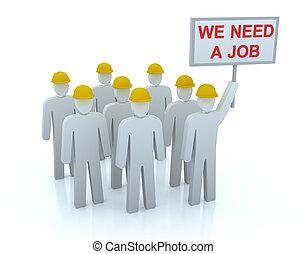 我們, 失業, 工作, 隊, 需要, :
