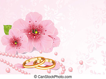 戒指, 花, 櫻桃, 婚禮