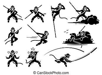 或者, 猴子, 字符, 圖象, set., 國王, wukong, 太陽