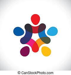 或者, 社區, 鮮艷, 玩, 也, 圈子, 藏品, friendship-, 工人, 團結, 矢量, &, 手, graphic., 罐頭, 聯合, 統一, 孩子, 這, 插圖, 一起, 代表, 概念, 等等