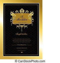 或者, 邀請, card., 金, 婚禮, v
