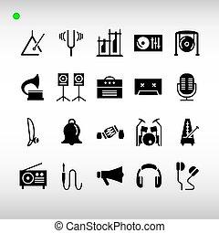 或者, 黑色, 集合, 樂器, 風格, 圖象, glyph
