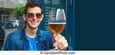 或者, pub, 人, 年輕, 喝酒, 啤酒, 酒吧