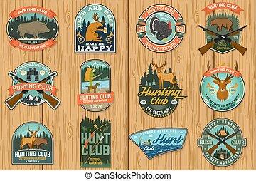 戶外, 概念, badge., 象征, 冒險, 集合, 鹿, 熊, 矢量, 野豬, 鴨子, 襯衫, 設計, stamp., 印刷術, forest., 葡萄酒, 俱樂部, 獵人, 尋找, 印刷品, 槍, 打獵