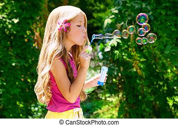 戶外, 肥皂, 吹, 森林, 氣泡, 孩子