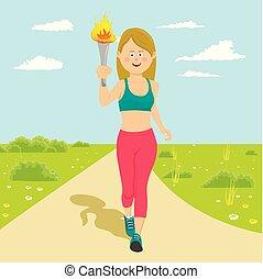 戶外, 藏品, 火, 運動員, 火炬, 年輕, 跑, 女性, 愉快