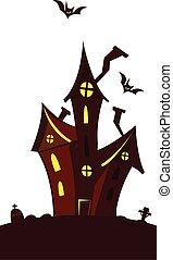 房子, 万圣節, 白色, 愉快, 縈繞心頭, 背景, 被隔离