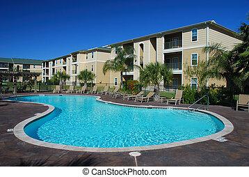 房子, 公寓, 池, swimimng