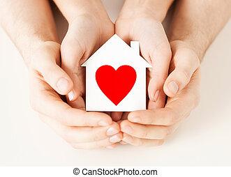 房子, 夫婦, 紙, 扣留手, 白色