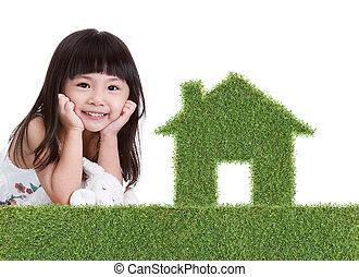 房子, 女孩, 草, 綠色