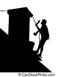 房子, 工人, 屋頂