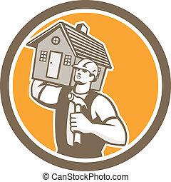 房子, 建造者, 木匠, 運載, retro, 錘子