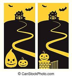 房子, 恐怖, 飛行, 天空, 黃色, -, 万圣節, 縈繞心頭, 小山, 蝙蝠, 邀請, 黨, 路徑, 南瓜, 發光