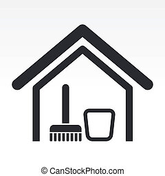房子, 插圖, 被隔离, 單個, 圖象, 矢量, 打掃