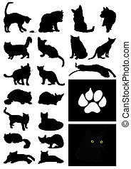 房子, 插圖, 黑色半面畫像, 矢量, 黑色, cats.