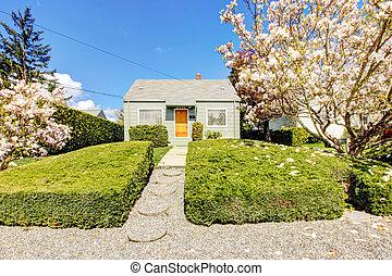 房子, 春天, 開花, 綠色, 外部, 樹。, 小