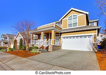 房子, 春天, 黃色, 外部, 相片, 新, 在期間, 愉快