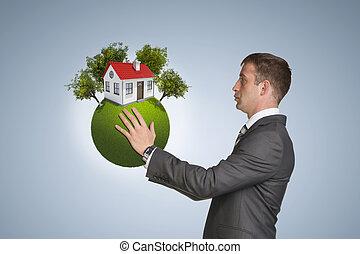 房子, 樹, 地球, 小, 商人, 握住