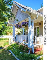 房子, 灰色, 白色外部, fence., 漂亮
