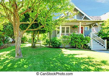 房子, 灰色, 老, 夏天, 美國人, 風景。