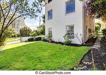 房子, 現代, grass., 綠色, 外部, 白色