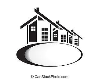 房子, 白色, 矢量, 背景, 插圖