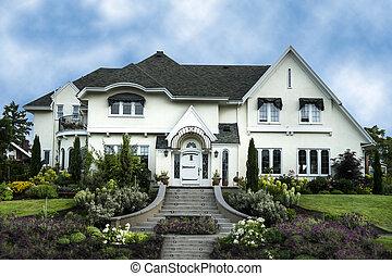 房子, 白色, 豪華, 外部, 灰泥