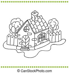 房子, 白色, 黑色, 插圖